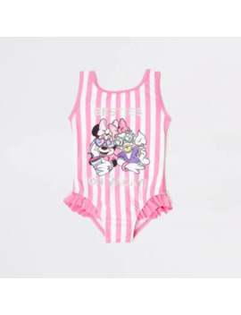 Mini Girls Pink Stripe Minnie Mouse Swimsuit by River Island