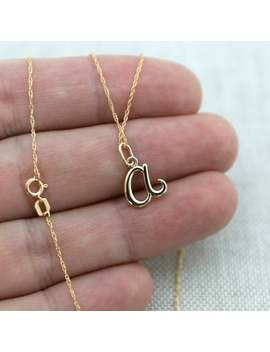"14k Yellow Gold Small Lowercase Cursive Initial Pendant Necklace   Lengths 0"" To 22""   Everyday Necklace, Initial Pendant, Gold Necklace by Etsy"