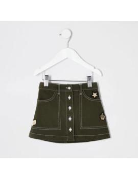 Mini Girls Khaki Utility Skirt by River Island