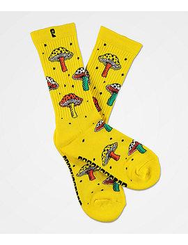 Psockadelic Fungi Yellow Crew Socks by Psockadelic