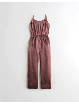 Satin Wide Leg Sleep Jumpsuit by Hollister