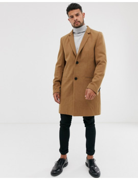Only &Amp; Sons Wool Mix Overcoat In Camel by Only & Sons