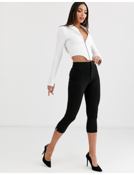 Asos Design Tall Crop Tuxedo Top In White by Asos Design