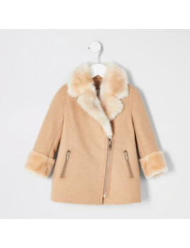 Mini Girls Brown Faux Fur Trim Swing Coat by River Island