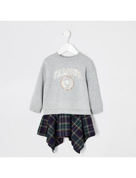 Mini Girls Grey 'famous' Sweater Dress by River Island