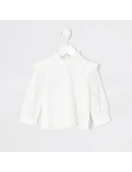 Mini Girls Cream Lace Shlouse Top by River Island
