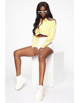 Stripe It Off Jacket   Yellow by Fashion Nova