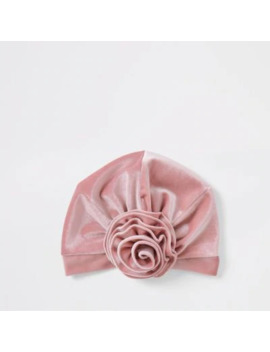 Mini Girls Pink Velvet Turban Headband by River Island