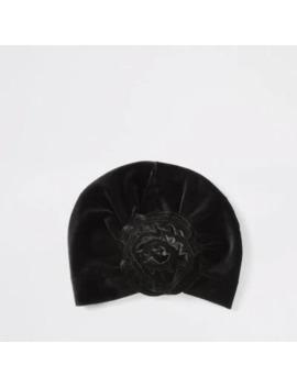 Mini Girls Black Velvet Turban Headband by River Island