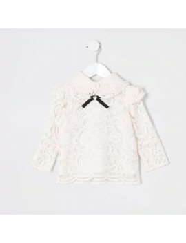 Mini Girls Pink Lace Bow Collar Top by River Island
