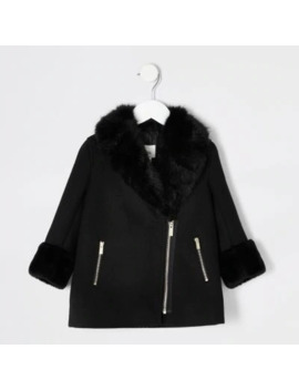 Mini Girls Black Faux Fur Trim Biker Coat by River Island