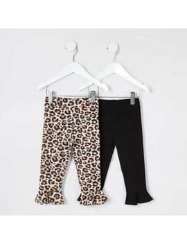 Mini Girls 2 Pack Leopard Flute Hem Leggings by River Island