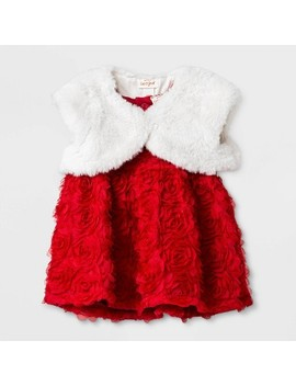 Baby Girls' Rosette Mesh Dress Set   Cat & Jack™ Red by Cat & Jack
