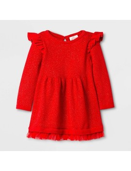 Baby Girls' Ruffle Sleeve Sweater Dress   Cat & Jack™ Red by Cat & Jack