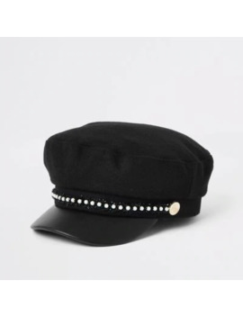 Mini Girls Faux Pearl Trim Baker Boy Hat by River Island