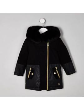 Mini Girls Black Faux Fur Trim Parka Jacket by River Island
