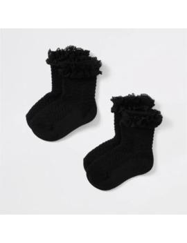 Mini Girls Black Lace Socks Multipack by River Island