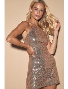 Casmar Champagne Sequin Mini Dress by Lulus