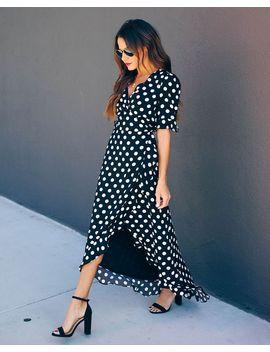 Delphina Polka Dot High Low Wrap Maxi Dress by Vici