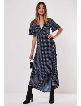 Navy Polka Dot Wrap Midi Dress by Missguided