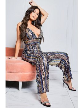 Plunge Front Sequin Stripe Wide Leg Jumpsuit by Boohoo