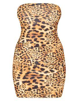 Tan Velvet Leopard Print Bandeau Bodycon Dress by Prettylittlething