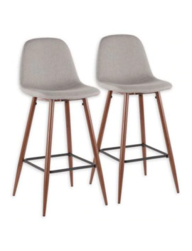 """Lumisource® Polyester Upholstered Pebble 39.25"""" Bar Stools In Light Grey (Set Of 2) by Bed Bath And Beyond"""