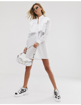 Pretty Little Thing Shirt Dress With Frill Detail In White by Pretty Little Thing