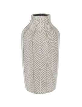 Taupe & White Etched Leaf Metal Vase by Hobby Lobby