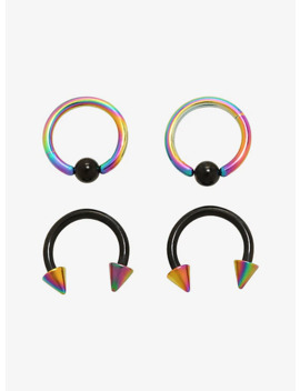 Steel Rainbow & Black Captive Hoop & Curved Barbell 4 Pack by Hot Topic