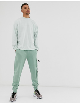 Asos Design Oversized Long Sleeve T Shirt With Seam In Pale Green by Asos Design