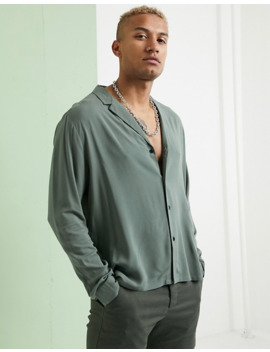 Asos Design Relaxed Fit Viscose Shirt With Low Revere In Khaki by Asos Design