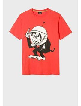 Men's Orange 'space Monkey' Print Organic Cotton T Shirt by Paul Smith