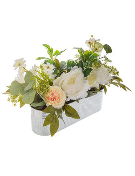 White Peony Arrangement In Tin Planter by Hobby Lobby
