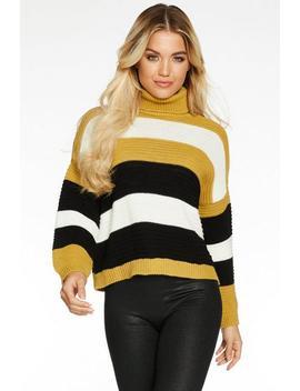 Mustard Cream And Black Stripe Knit Roll Neck Jumper by Quiz