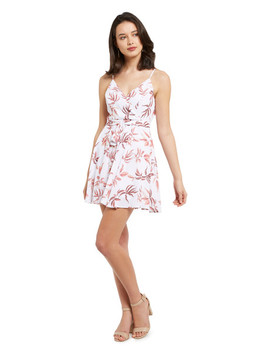 H By Harlow Stacey Leaf Print Sleeveless Dress, White by Farmers