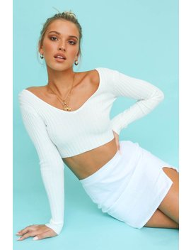 Decadent Touch Ribbed Knit Top // White by Vergegirl