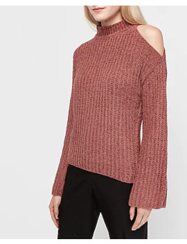 Cozy Chenille Cold Shoulder Mock Neck Sweater by Express