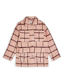 Pink Check Jacket by Topshop