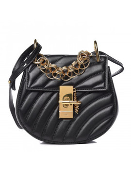 Chloe Calfskin Quilted Mini Drew Bijou Shoulder Bag Black by Chloe