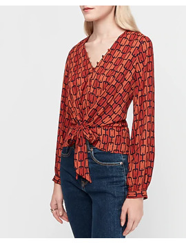 Chain Link Print Tie Front Peplum Shirt by Express