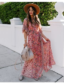 Featherweight Mix Print Floral Wrap Maxi Dress by Vici