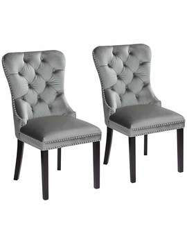Annabelle Tufted Gray Velvet Dining Chairs Set Of 2 by Lamps Plus