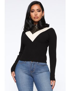 Just Zip Me Up Color Block Sweater   Black/Combo by Fashion Nova