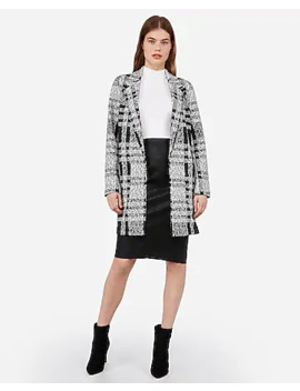 Embossed Plaid Knit Car Coat by Express