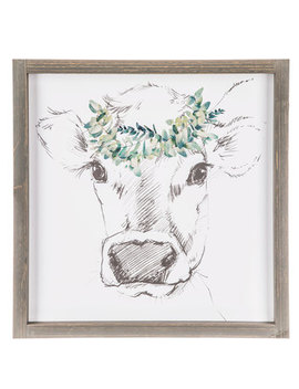 Sketched Cow With Floral Crown Wood Wall Decor by Hobby Lobby