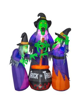 6 Ft. Inflatable Fire And Ice 3 Witches With Cauldron (Ggr) Projection Airblown Scene by Home Accents Holiday
