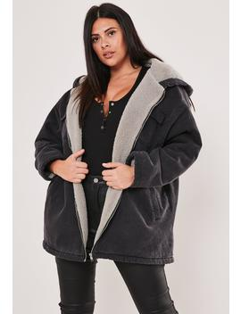 Plus Size Black Washed Denim Lined Parka by Missguided