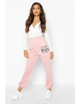 Good Vibes Only Slogan Jogger by Boohoo