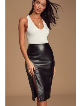 Mireya Black Vegan Leather Pencil Skirt by Lulus